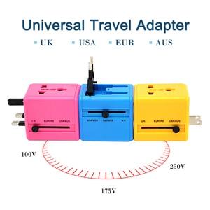 Image 2 - International Travel Adapter Mehrere farbe Elektrische Plug Power Universelle Buchse Adapter USB Power Charger Konverter EU UK US AU