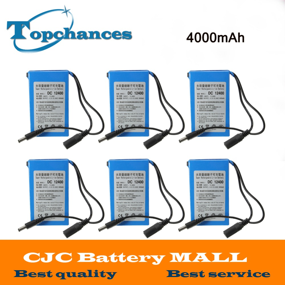 6X 2017 New High Quality Super Rechargeable Portable Lithium-ion Battery <font><b>DC</b></font> 12V 4000mAh DC12400 With Plug image