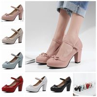 ASILETO large size 45 46 Women strap pumps nude bows platform high heels round toe party wedding shoes bridal stilettos black