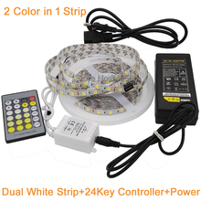 5M 12V 5050 CCT LED Strip Color Temperature Adjustable Dual White Waterproof Flexible Tape + 24Key Remote+ 12V 5A Power Set 5025