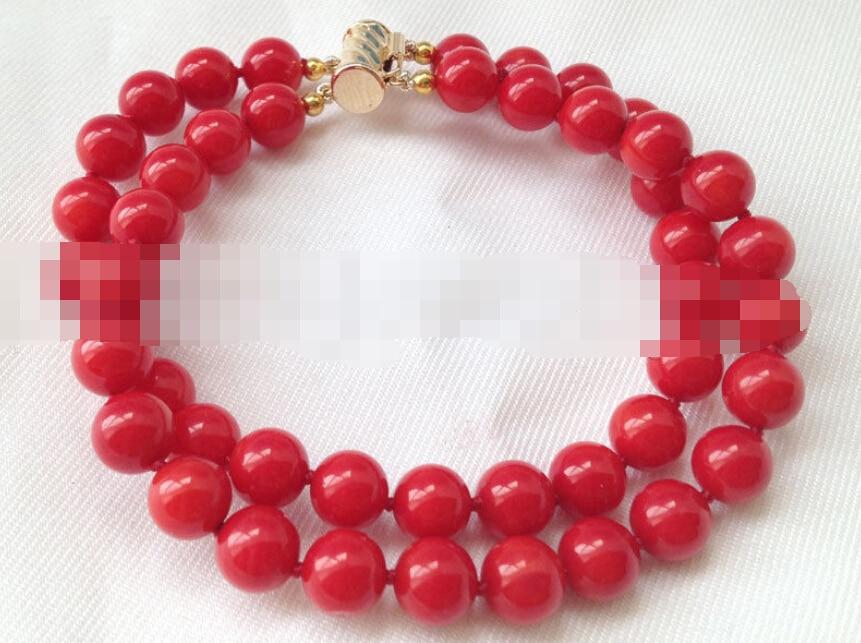 Vente chaude >@@ 0742 2row rond rouge corail bracelet or rempli fermoir-Mariée bijoux livraison gratuite