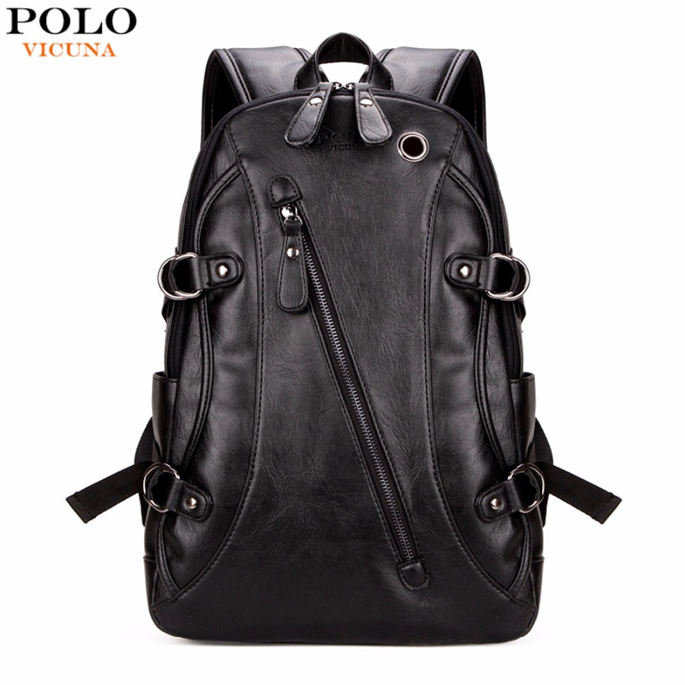 344922087fb VICUNA POLO Fashion Casual Brand Leather Mens Travel Backpacks Cool  Multifunctional Laptop Backpacks Mens Backpack Bag Male Bag-in Backpacks  from Luggage   ...