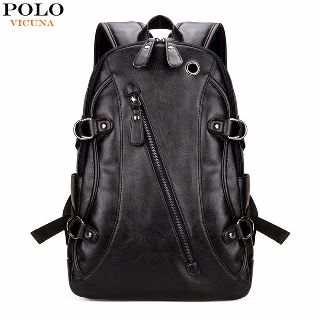 VICUNA POLO Fashion Casual Brand Leather Mens Travel Backpacks Cool Multifunctional Laptop Backpacks Mens Backpack Bag Male Bag