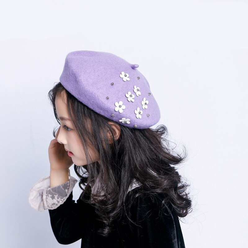 New Fashion Baby Hat for Girls Wool Autumn Winter Baby Girl Hat with Flowers Vintage Infant Beret Cap Kids Baby Accessories in Hats Caps from Mother Kids