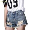 DELOS Novo Estilo Verão 2016 Buraco Do Punk Rock Moda de Alta Shorts Jeans de cintura Do Vintage Jeans Rasgados Curtas Sexy Das Mulheres Curto Femme