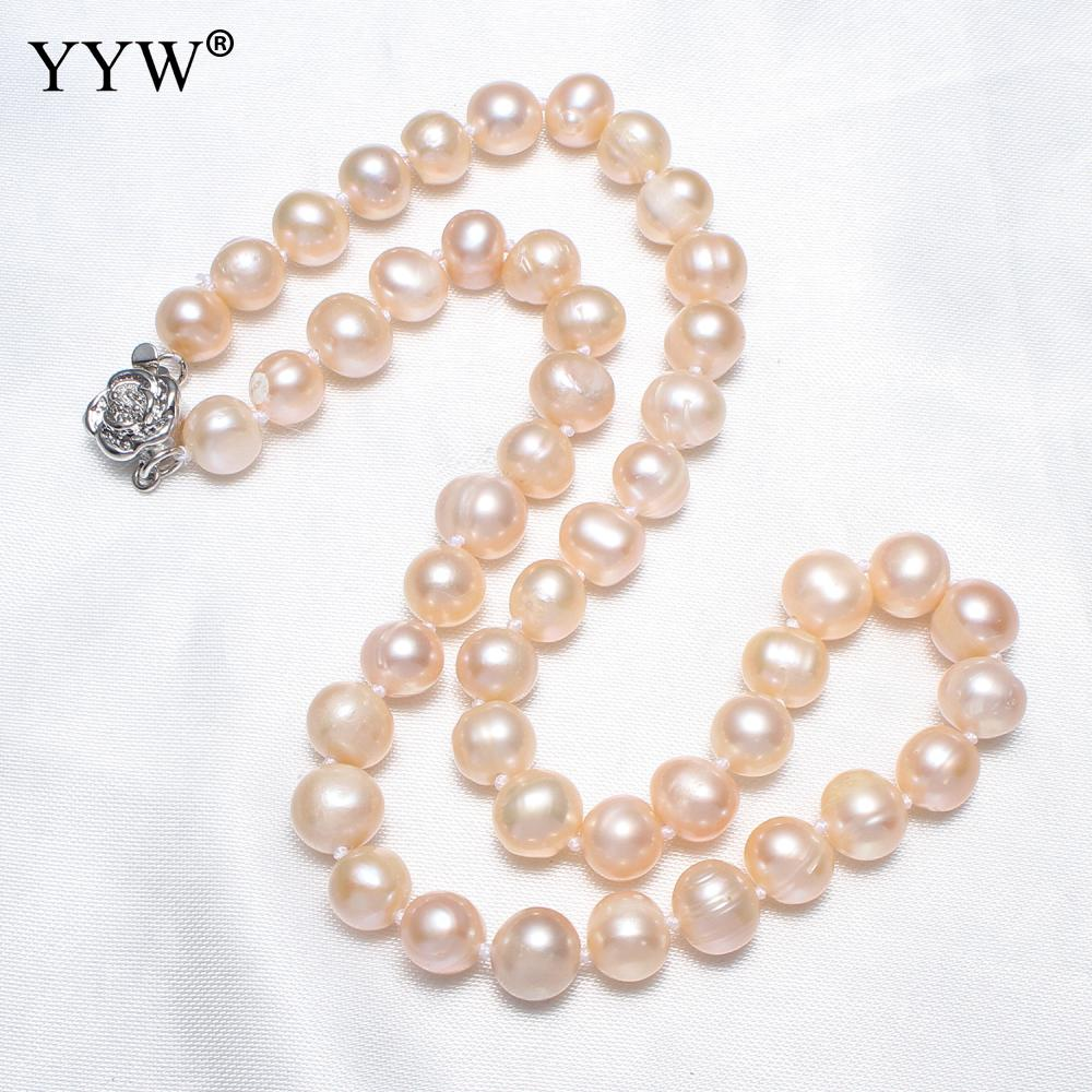 YYW Hot 7-8mm 100% Natural Pearl Necklace For Women Wedding Party Jewelry Potato Pink Freshwater Pearl Long Maxi Collier 15.5