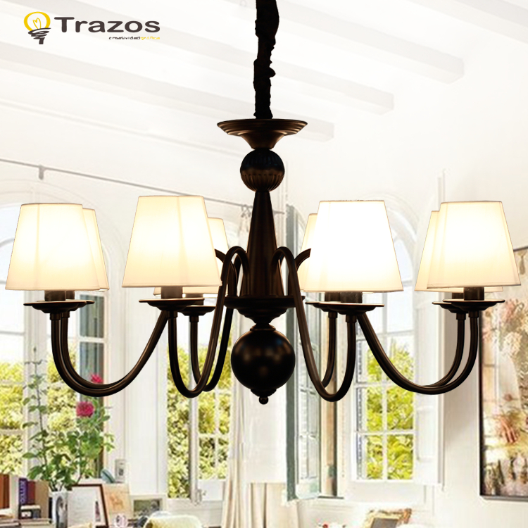 Creative Fabric Modern Chandelier for living room lustres home decoration WHITE shade wrought Iron Iustre free shipping