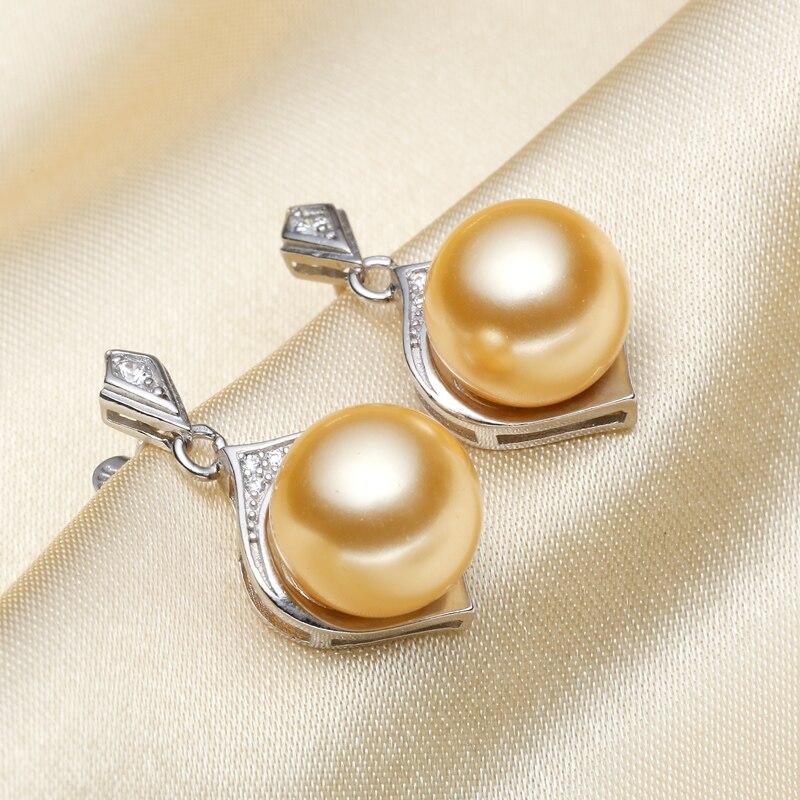 Mariage éternel femmes cadeau mot 925 argent Sterling réel [belle] perle coquillage perles 10mm perle boucles d'oreilles coquille perle Earrin