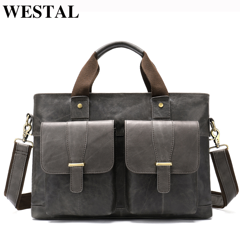 WESTAL Large Leather Briefcases Men's Genuine Leather Briefcase For Laptop 14 Messenger Bag Men Laptop Bags Office/Work Bag 8520
