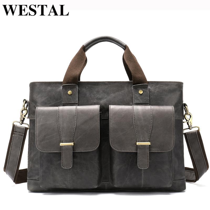 WESTAL Large Leather Briefcases Men's Genuine Leather Briefcase For Laptop 14 Messenger Bag Men Laptop Bags Office/Work Bag 8520
