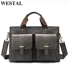 WESTAL Large Leather Briefcases Mens Genuine Leather Briefcase for Laptop 14 Messenger Bag Men Laptop Bags Office/Work Bag 8520