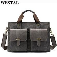 WESTAL büyük deri evrak çantası erkek hakiki deri evrak çantası Laptop 14 omuz çantası erkekler Laptop çantaları ofis/iş çantası 8520