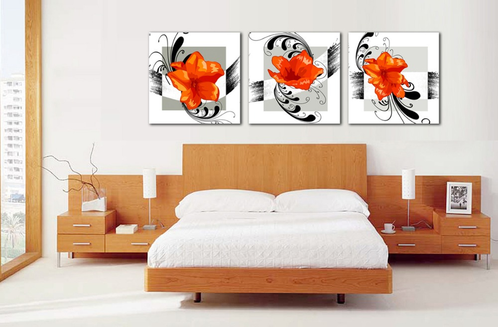 Free shipping popular 3 pieces modern orange flowers wall art picture on canvas prints no frame in painting calligraphy from home garden on
