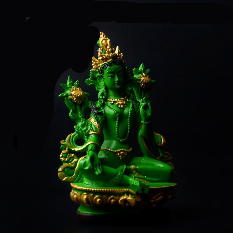 Buddhist Supplies Unblievable Lifelike Tibetan Tantric Buddha High Quality Printed Green Tara Auspicious Statue Resin Craft