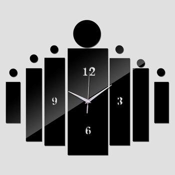 New Reloj Pared Mirror Wall Clock Clocks Design Quartz Geometric Single Face Acrylic Diy Watch Sticker Decor 1
