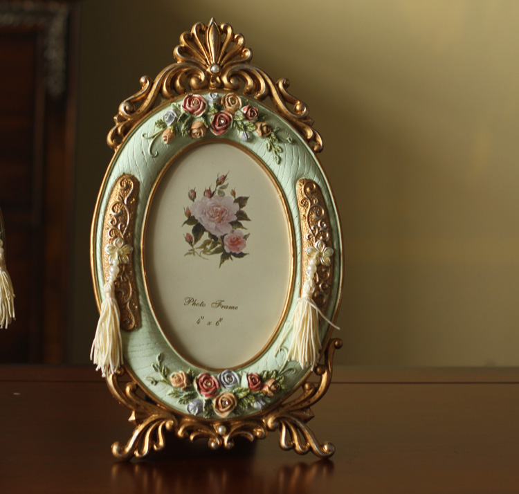 metro picture frames old finish green board round flower design 6 resin frame home store