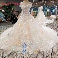 Angel Tree Vestido De Noiva 2018 Colorful Flowers Lace Gown Elegant Luxury Wedding Dresses Real Photos