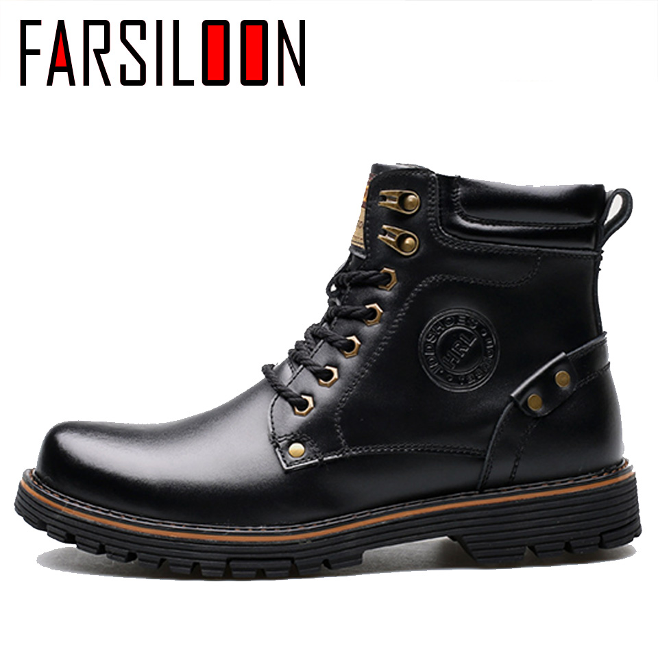Men's Leather Warm Comfortable Waterproof Boots Men's Boots Round Head Boots Warm Lace Up Solid Rome Men Shoes JLL028 - 2
