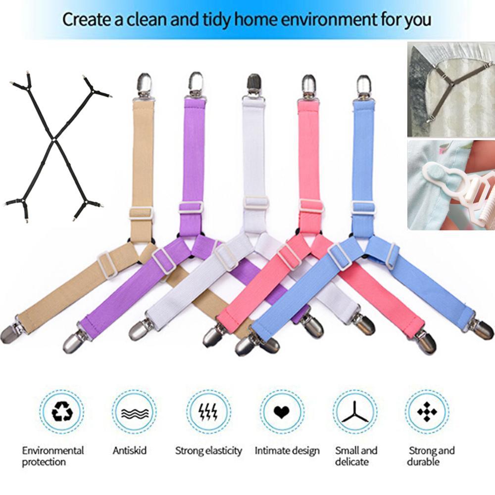 4Pcs Bed Suspender Straps Elastic Mattress Fastener Holder Sheet Grippers Clips
