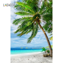 Laeacco Summer Holiday Palm Tree Seaside Portrait Photography Backgrounds Customized Photographic Backdrops For Photo Studio