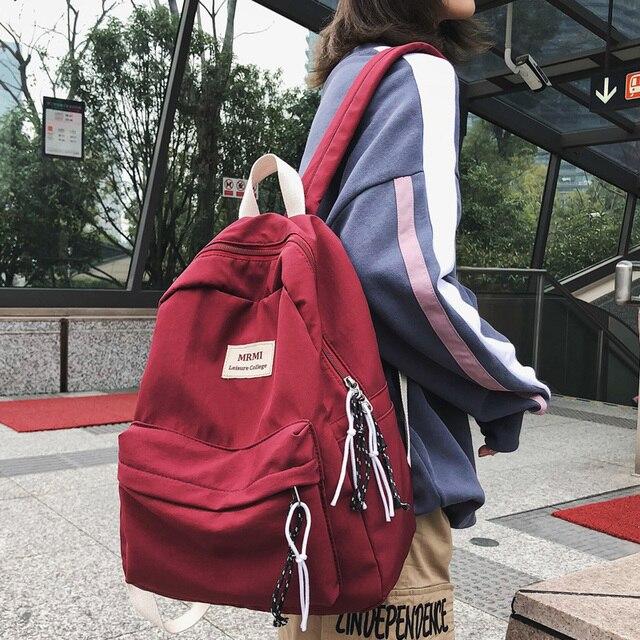 DCIMOR חדש מוצק צבע נשים תרמיל רטרו אופנה עמיד למים ניילון Bagpack עבור בני נוער מוצ ילאס תרמילי נסיעות