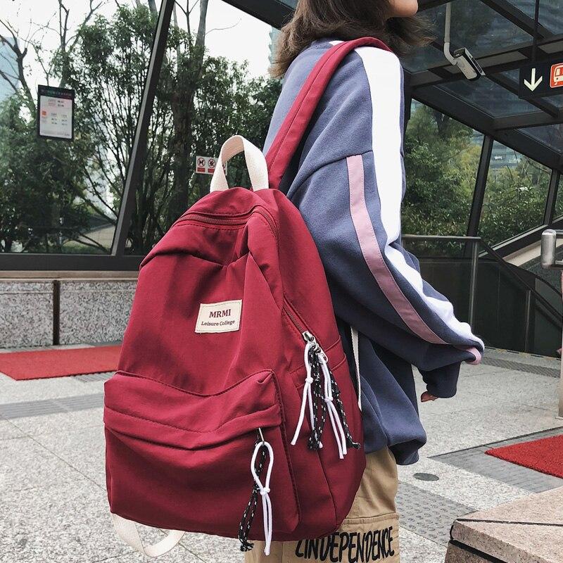 Dcilor mochila de color sólido para mujer mochila de Nylon impermeable de moda Retro mochilas escolares para mochila para jóvenes mochilas de viaje