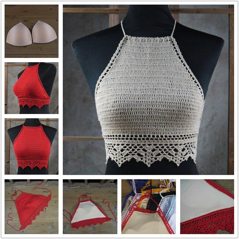 Pop Crochet bikini Top, crochet knitted crop tops swimwear ...