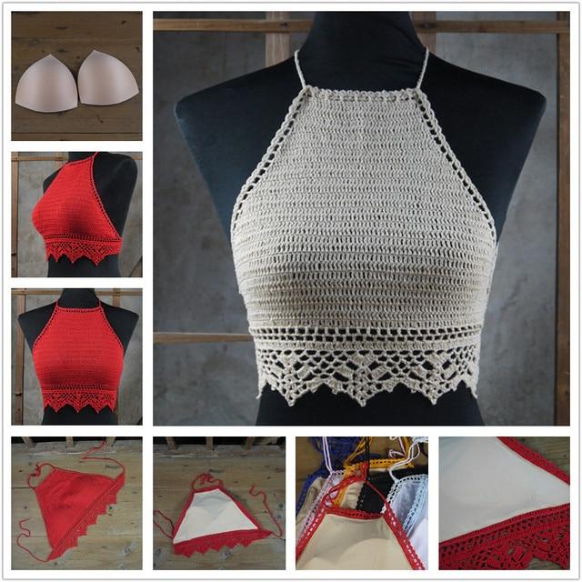Pop Crochet Bikini Top Crochet Knitted Crop Tops Swimwear