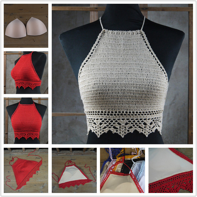 Pop Top de Bikini crochet, ganchillo hecho punto tops traje de baño ...