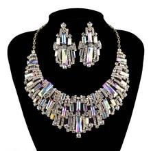 Trendy Wedding jewelry sets rhinestone Austrian Crystal Women party necklace earrings set Bridal Dress Jewelry Accessories