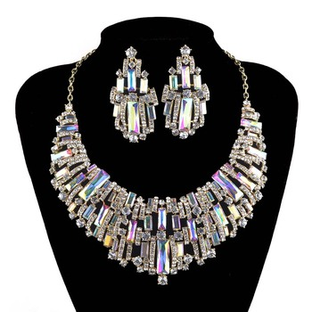 Trendy Wedding jewelry sets rhinestone Austrian Crystal Women party necklace earrings set Bridal Dress Jewelry Accessories