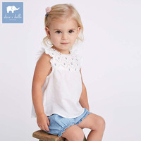 Dave bella summer baby print lovely suits children boutique costumes infant toddler girls clothing sets DB7263