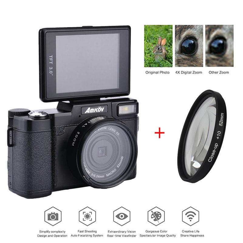 AMKOV 1080 P AMK-R2 24MP HD Numérique REFLEX Caméra Caméscope + Macro Lentille 4x Zoom 3.0 TFT