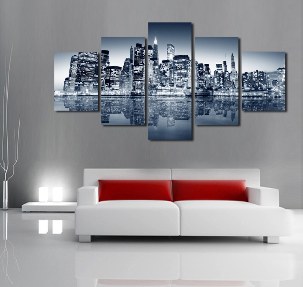 Unframed 5 Panels Abstract Urban Night Scene Canvas Print Painting Modern Wall Art For Pcture Home Decor Artwork In Calligraphy From