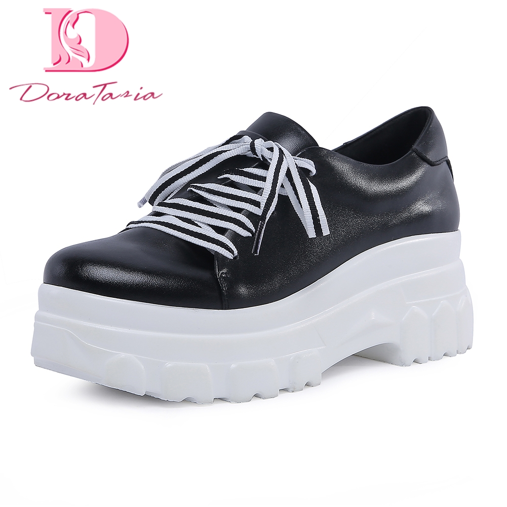DoraTasia 2018 Genuine Leather Large Size 34-42 Platform High Heels Woman Shoes Solid Fashion women sneakers Lace Up Shoes Woman doratasia flowers embroidery women shoes sneakers lace up fashion flat platform ladies shoes woman high quality