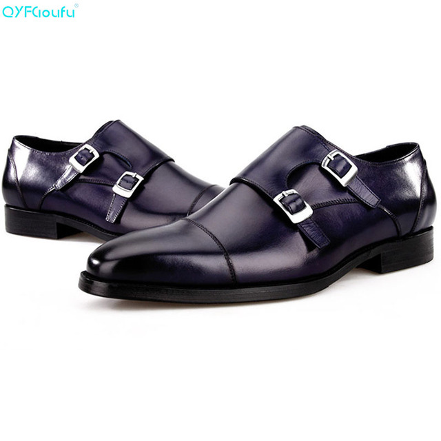 QYFCIOUFU Brand 100% Genuine Leather Monk Strap Shoes Men Oxfords High Quality Handmade Designers Formal Finger Cap Dress Shoes