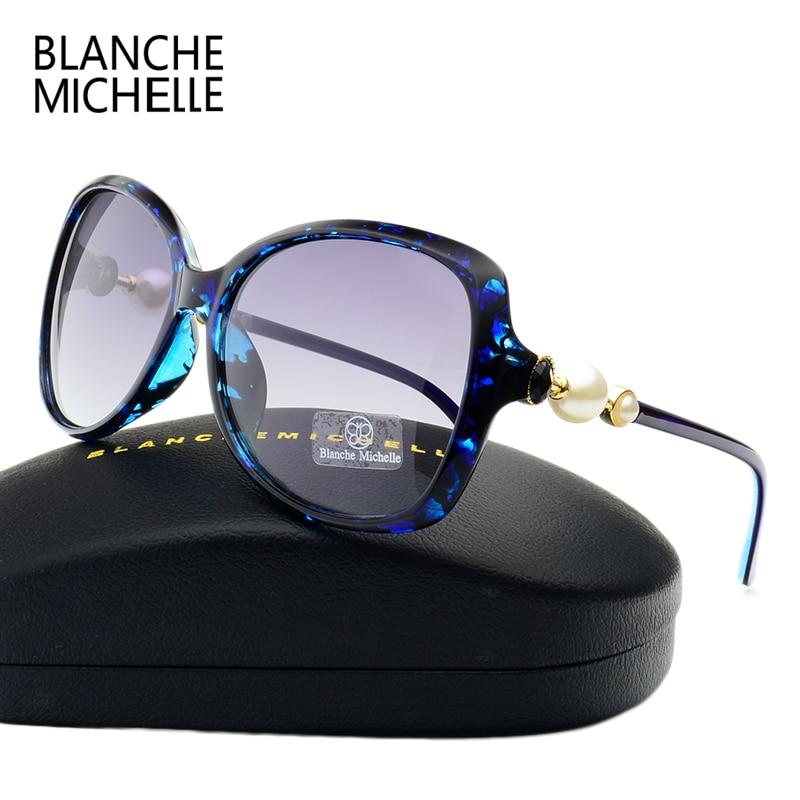Moda de alta calidad de la mariposa perla gafas de sol mujeres polarizadas espejo UV400 gafas de sol diseñador de la marca 2018 con caja original