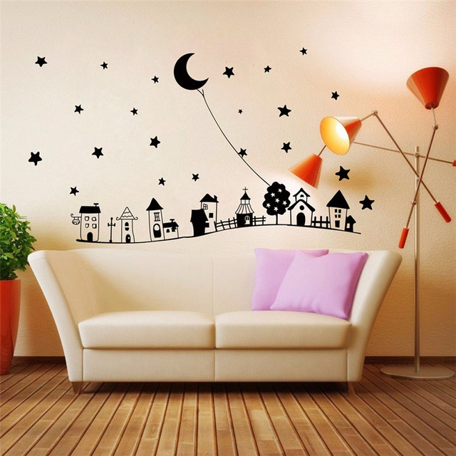 Goodnight Moon Star With Houses Vinyl Wall Sticker Children Sroom