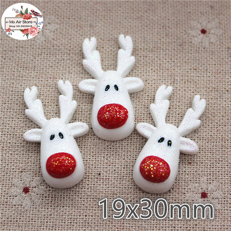 10pcs Christmas White Reindeer Resin Flatback Cabochon Art Supply Decoration Charm Craft 19x30mm