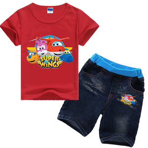 Image 5 - Ensemble de vêtements dété en denim, manches courtes, pour filles de 2 8 ans, ensemble de Jeans en Super ailes, pour enfants, pour garçons de 2 8 ans, 2019