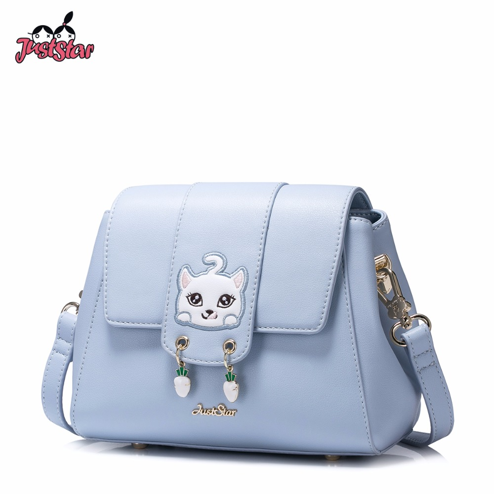 JUST STAR Women's PU Leather Messenger Bags Ladies Cartoon Cat Embroidery Shoulder Purse Female Doctor Crossbody Bag JZ4514 just star women s pu leather messenger bags ladies embroidery shoulder purse female chain leisure whale crossbody bags jz4468