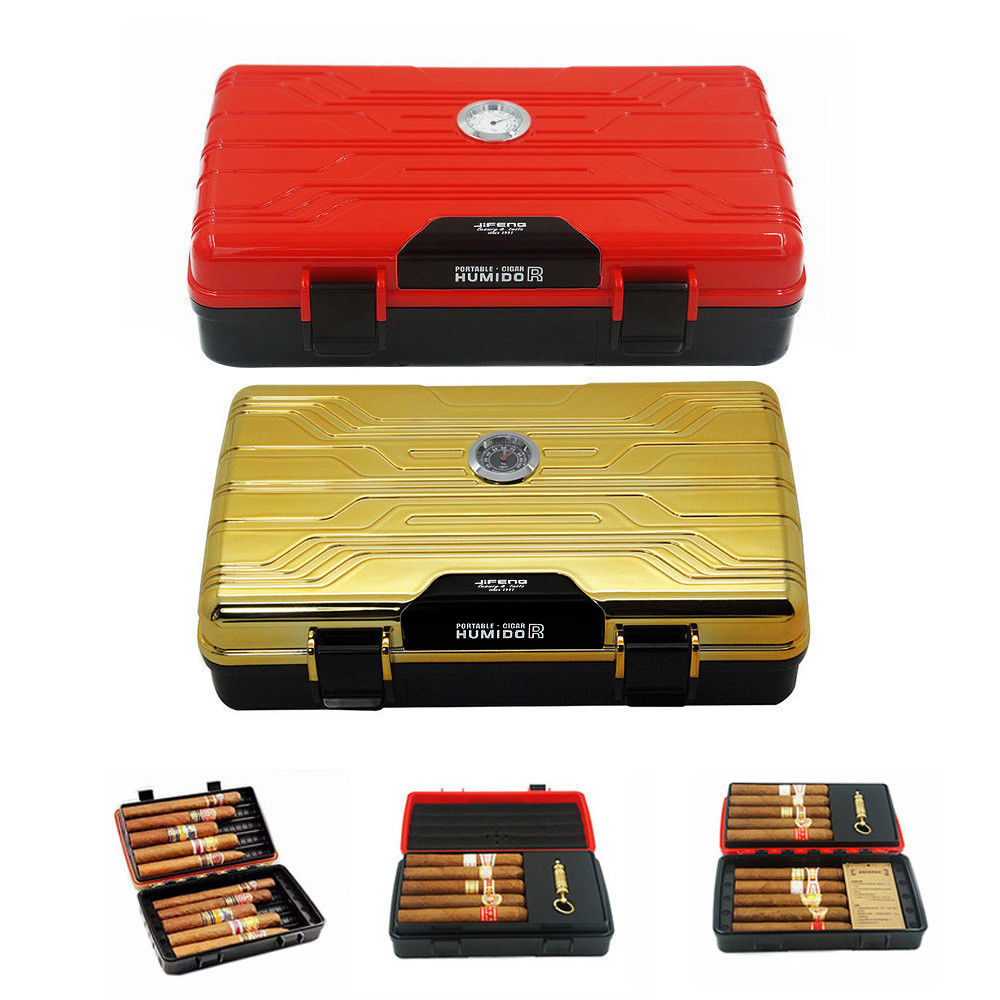JiFENG Gold Red Travel Cigar Humidor Case For Cigars Multifunction Double Deck Cigar Box With Humidifier