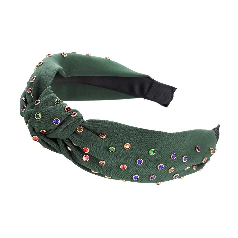 0-1 Year Old Sized Polka Dot Flower Headband w Acrylic Jewel Center 14 inches