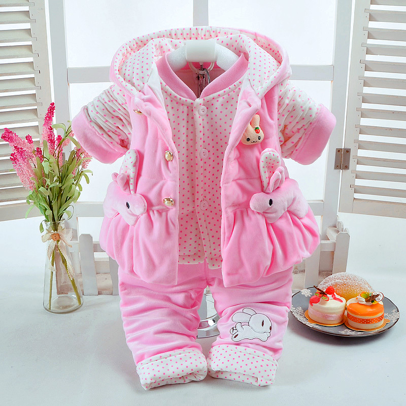 Autumn & Winter Baby Girl Clothes Set Pink Rabbit Style Add Cotton-Padded Thick Clothes Warm 0-2T Newborn Infant Baby 3Pcs/Set