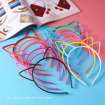 24pcs Cat Ear Headband 0.6cm ABS Plastic Hair Hoop Headpiece for Party Daily Hairstyle Decoration (12-Color) For Women Kids цена 2017