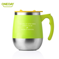 ONEDAY 450ml Thermo Cup Coffee Mug Teacup Drink Mug Thermos Flask Water Tumbler With Cover Black