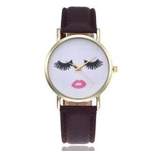 Women Eyelashes Leather Strap Watch Casual Jelly Color Lash and Lip Pattern Dial Quartz Wrist Watches Relogio Feminino Shellhard