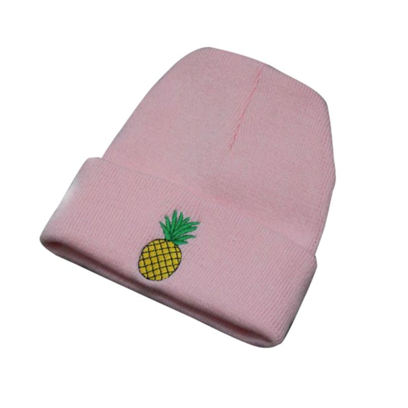 Women Girl pineapple Embroidered   Beanie   Stocking Cap Hiking Cuffed Knit Hat warmer Winter Hats For Men women   skullies     beanies   A8