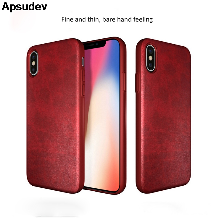 Apsudev TPU with leather Phone Case For iphone X 8 8 Plus 7 7 Plus For Samsung Note 8 S8 S8 Plus S9 S9 Plus S7 edge Back Cover