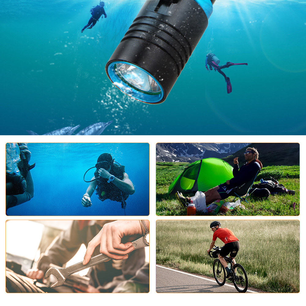 Купить с кэшбэком Dive 100 Meter L2 18650 26650 Diving LED Flashlight Waterproof Underwater Camping Lanterna Torch Lamp Stepless Dimming